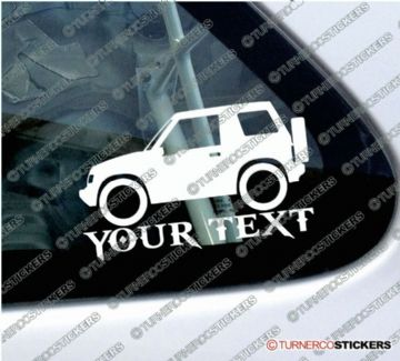 2x Suzuki Sidekick / Vitara 2-Door softtop (1989-1998) 4x4 Silhouette CUSTOM TEXT stickers